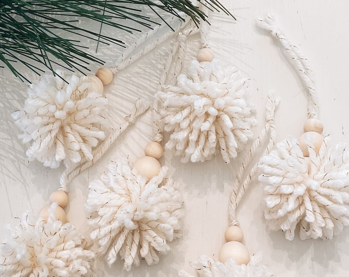 Pom Pom and Wood bead ornament/Christmas ornament
