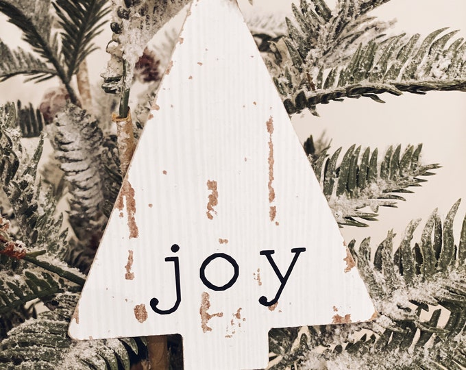 Joy Wood Christmas Ornament