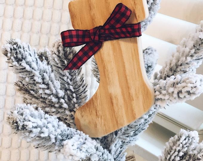 Wood Stocking Christmas Ornament