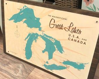 Great Lakes wall map