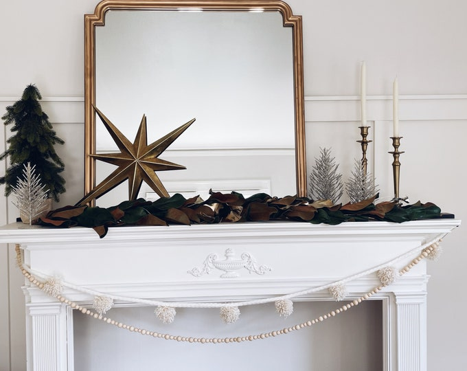 Off White with gold accent braided Pom Pom Garland