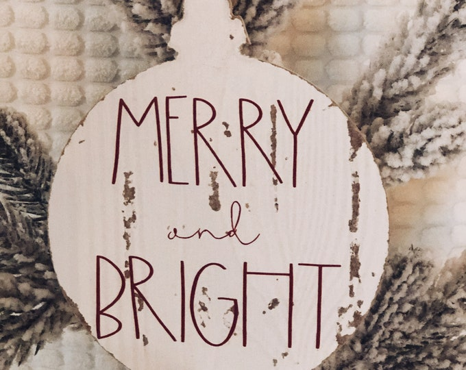 Merry and Bright Wood Christmas Ornament