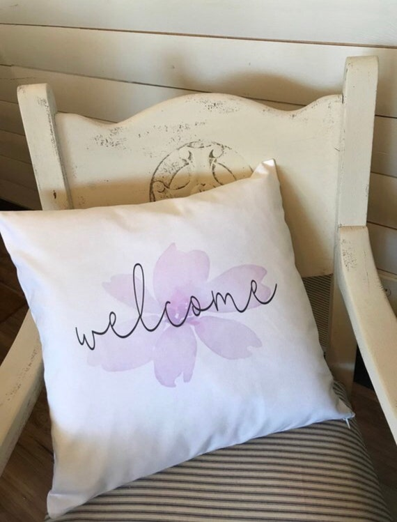 Welcome throw pillow, Spring floral throw pillow, Decorative pillow