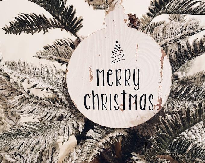 Wood Merry Christmas Ornament