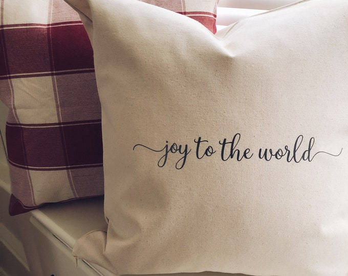 Joy to the World Pillow Cover/Christmas Pillow/Decorative Pillow