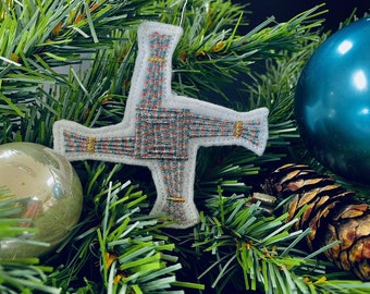 Celtic Cross Christmas Ornament in variegated threads