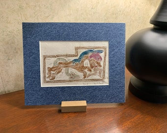 Jonah and the Whale carving found in Scotland 8x10 rubbing from hand carved plate with custom waxes