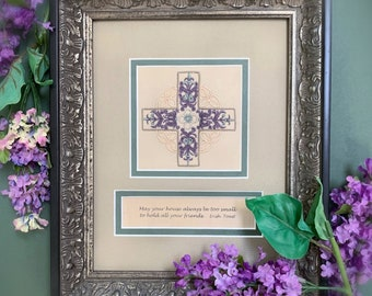 Celtic cross, embroidery, customized inspirational quotes, framed, wall art