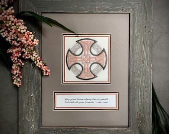 Celtic Cross, Inspirational quotes, embroidery, framed art, rustic gray and rose