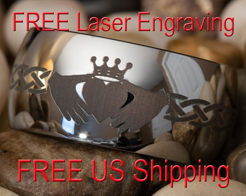 Tungsten Wedding Ring 12mm Dome Claddagh Lasered Design Free Etsy