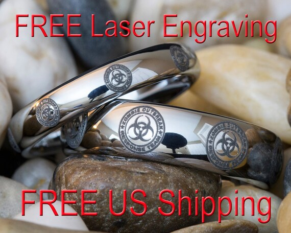 Two Tungsten Wedding Rings His And Hers 4mm 6mm Dome Zombie Etsy