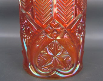 Millersburg Carnival Glass - FEATHER & HEART Scarce Marigold Tumbler