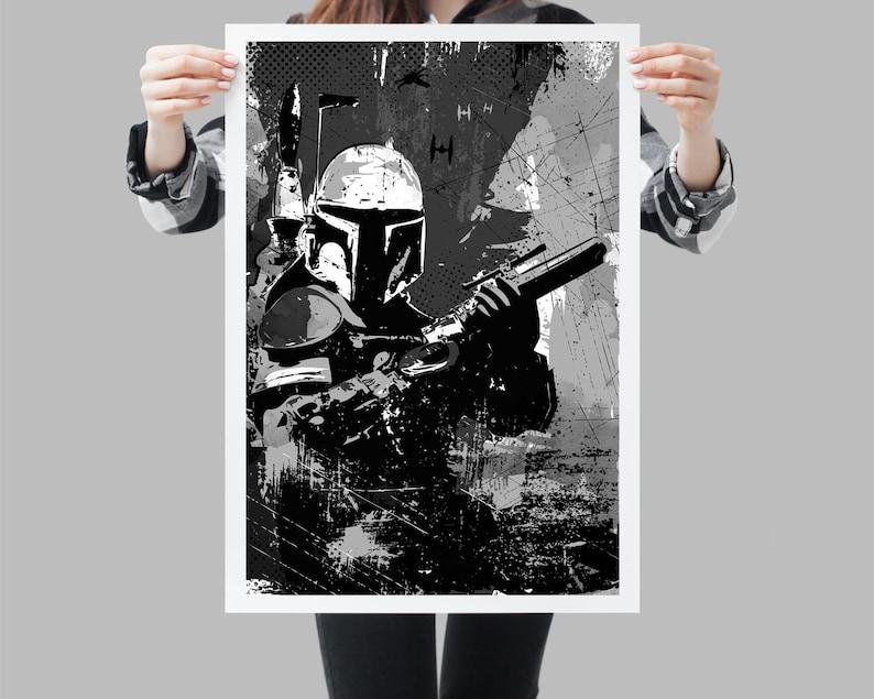 Guerra de las Galaxias Boba FETT CAZARRECOMPENSAS B&W SINGLE LONA pared arte Foto impresión Arte y antigüedades