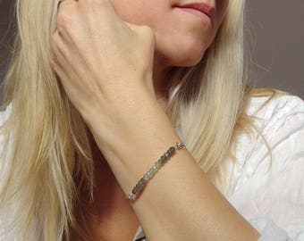 Personalized bracelet, March birthstone, Personalized birthstone bracelet, Initial bracelet, Bridesmaid bracelet, Bridesmaid jewelry