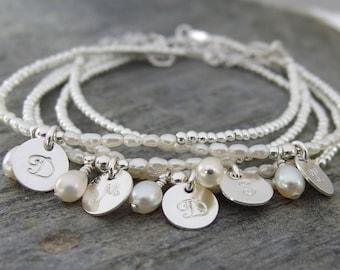 Bridesmaid bracelet SET of 3, 4, 5, 6 Bridesmaid gift, Personalized Bracelet, Pearl bridesmaid Bracelet, Initial Bracelet, Wedding jewelry