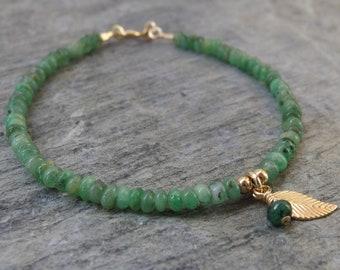 May birthstone jewelry Emerald bracelet Beaded bracelet Gold Emerald bracelet Birthstone bracelet  Genuine Emerald bracelet stone jewelry