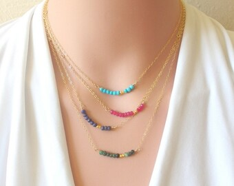 Birthstone layer Necklace Gemstone Bar Necklace layering necklace Tiny gemstone necklace Dainty necklace Delicate birthstone jewelry gift