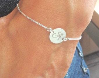 Initial bracelet Silver disc bracelet Personalized jewelry Letter bracelet hand stamped jewelry Personalized bracelet Initial disc jewelry