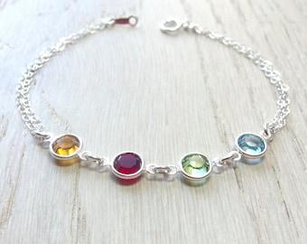 Birthstone bracelet Personalized bracelet Mother bracelet  Family bracelet Grandma bracelet Personalized birthstone  Swarovski birthstone