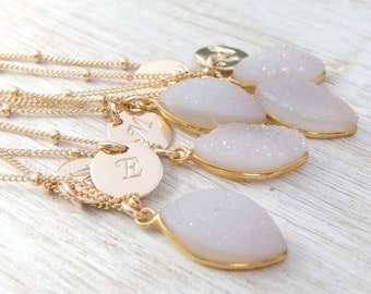 Bridesmaid Personalized Necklace Bridesmaid Jewelry Maid of Honor Gift Druzy Necklace Bridesmaid Gift Druzy Jewelry Mother of the Bride Gift