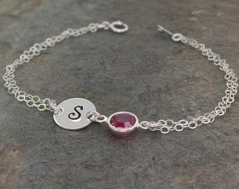 Personalized bracelet, October birthstone, Personalized birthstone bracelet, Initial bracelet, Bridesmaid bracelet, Bridesmaid jewelry