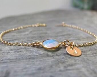 October Leather Birth Stone bracelet-Birthstone bracelet-October Crystal-Adjustable clasp-opal-tourmaline