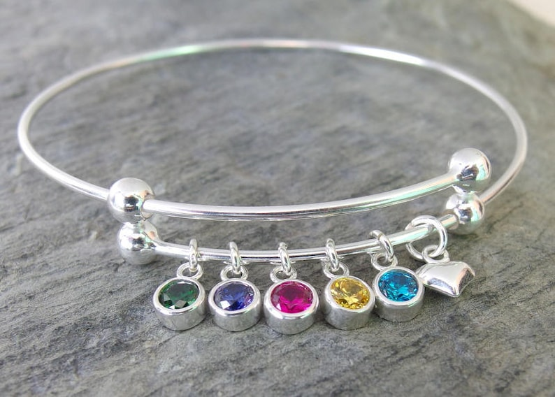Personalized Expandable Bangle Bracelet Birthstone March Jewelry & Watches