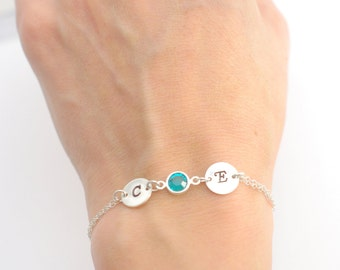 Birthstone bracelet, Aug birthstone, Personalized bracelet, Eternity bracelet, Bridesmaid bracelet, Friendship bracelet,