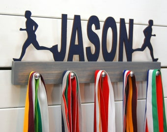 Personalized Runner Boy Silhouette Medal Holder- 12 or 20 inch