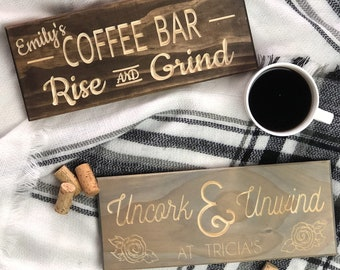 Personalized Coffee Wine Pub or Bar Sign