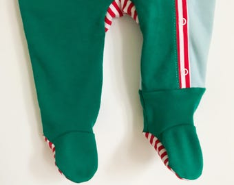 upcycled footie one-piece | sleigh ride