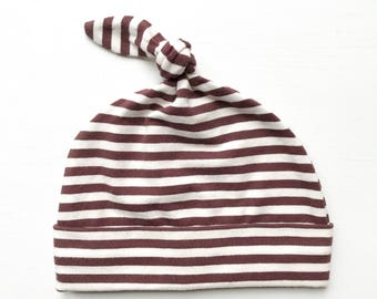 organic knottie baby hat | chocolate-vanilla stripe
