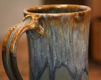 Hand thrown stoneware pottery mug Standard Style Volcano Blue