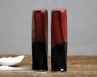 Stoneware pottery Salt and Pepper Shaker set Saigon Red Tall