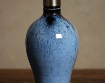 Hand thrown Stoneware Soap Lotion Dispenser Pump Midnight Blue Tall
