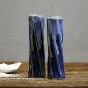 Stoneware pottery Salt Pepper Shaker set snowflake blue deep tone short