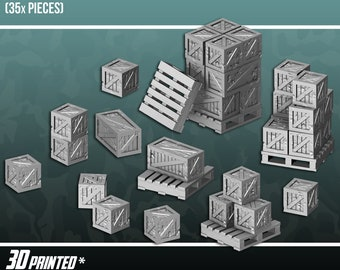 Rustic Crates & Pallets, Terrain Scenery for Tabletop 28mm Miniatures Wargame, 3D Printed and Paintable, EnderToys