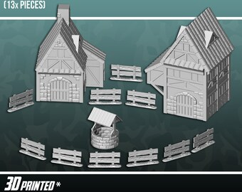 Village Bundle, Terrain Scenery for Tabletop 28mm Miniatures Wargame, 3D Printed and Paintable, EnderToys