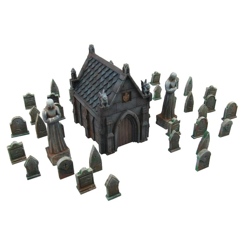 Mausoleum Graveyard Scene Terrain Scenery for Tabletop 28mm image 0