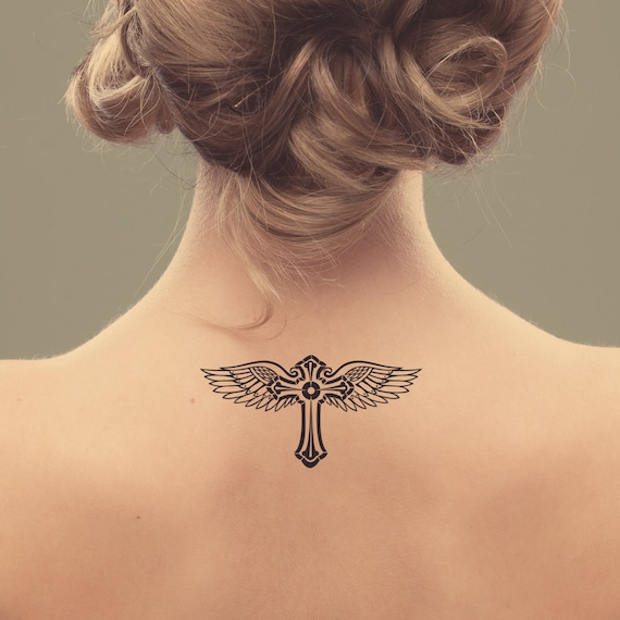 Items Similar To Cross And Wings Temporary Tattoo. Tattoo