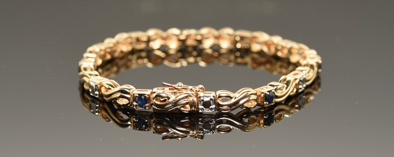 fddb34bbe9e87 Vintage Sterling Silver 925 Gold Plated Infinity With Blue White & Box Clasp