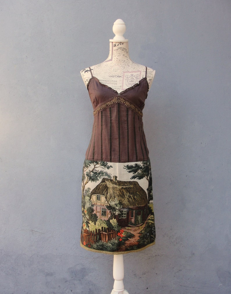 aeb0338461ba8 Brown Fairy tale Dress, Forest Farm Dress, Trees, Mountains, Cottage,  Vintage Gobelin Tapestry Fabric Clothing size 4 EU size 34