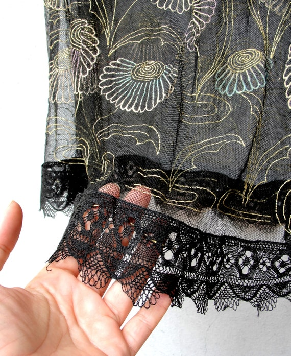 Vintage textile Clothing size 1012 EU size 4042 Hand Painted Flowers Floral Sheer Skirt Black See Through Mesh Skirt