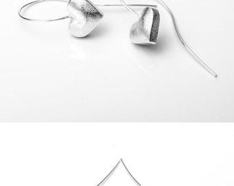 Silver earrings long earrings sterling silver heart earrings, Romantic gift, Modern, sterling earrings