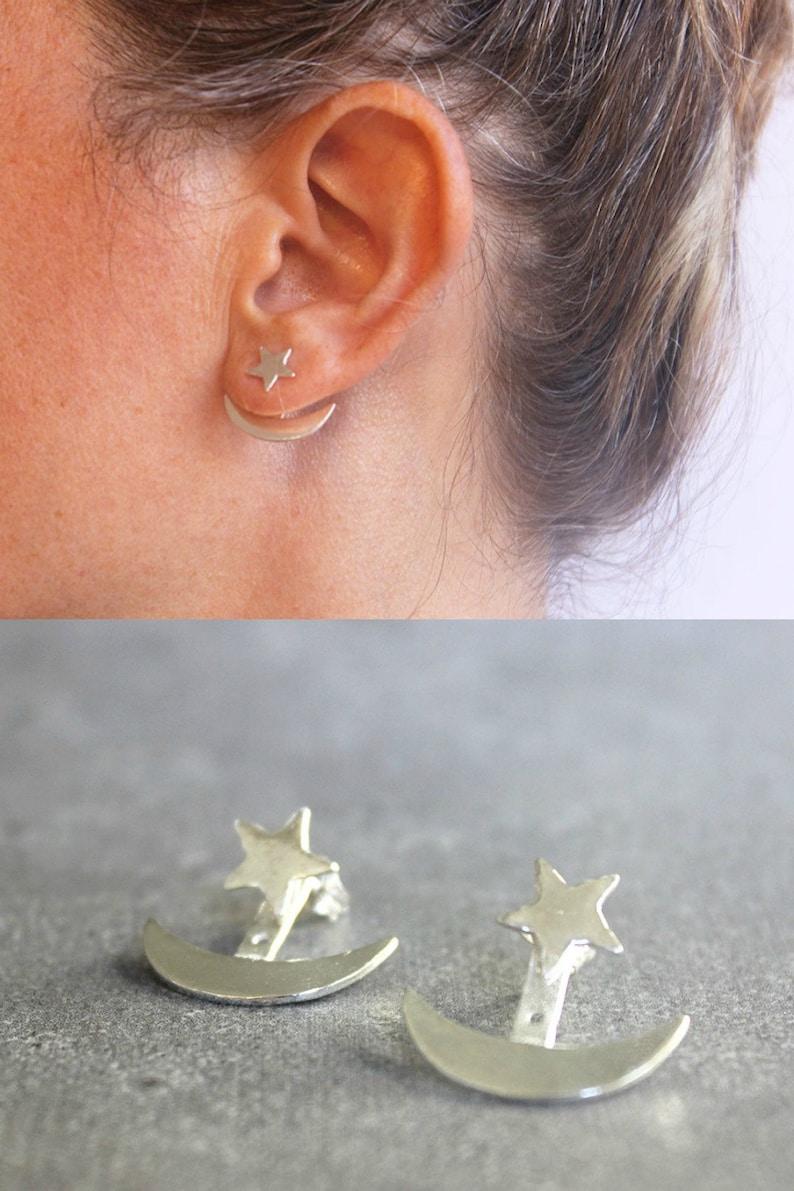 68f197734 Star ear jacket Star and moon earrings sterling silver ear | Etsy