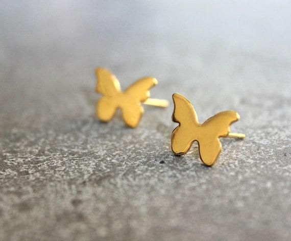 Gift For her Teen Girl Gift Filgree Butterfly Studs Butterfly Yellow Butterflies Butterfly Earrings