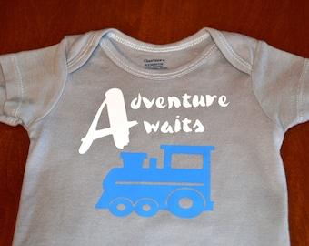 Train Onesie. Adventure Awaits Onesie. Baby Onesie. Baby Boy Onesie. Grey Onesie.