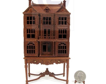 1/144 Scale Doll House On 1:12 Scale  Table Dollhouse Cabinet [ Finished in walnut]