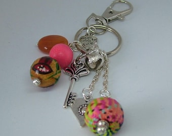 Colourful Beaded Bag Charm, Purse Charm, Zipper Charm, Key Chain in Oranges and Pinks Gift with gift packaging