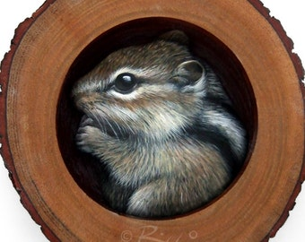 Cute Chipmunk in the Burrow | A Fantastic Piece of Art to Decorate your Home and a Unique Gift Idea for Nature Lovers by Roberto Rizzo